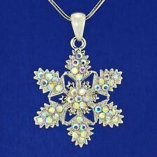 "W Swarovski Crystal AB Color Snowflake Christmas Pendant Necklace 18"" Chain Gift"