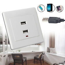 White Dual USB Wall Socket Charger AC/DC Power Adapter Plug Outlet Plate Panel