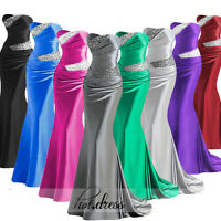 2016 New Long Satin Formal Prom Party Ball Gown Stock Bridesmaid Evening Dresses