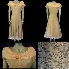 Vtg 50s Fit & Flare Lace Dress Satin Portrait Collar S Romantic