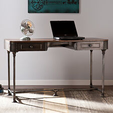 Rustic Writing Desk Home Office Furniture Workstation Metal Computer Industrial