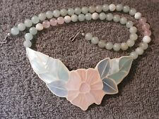Huge Vintage Inlaid Mother of Pearl Flower Necklace With Jade Rose Quartz Beads