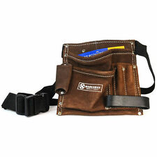 5 POCKET TOOL APRON WORK BELT POUCH ADJUSTABLE SPLIT LEATHER HAMMER LOOP NEW