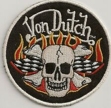 **NEW**Rare** Von Dutch Racing Finishing Flag Black/White w/Flaming Skull Patch