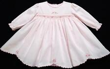 SARAH LOUISE 6M SMOCKED PINK LONG SLEEVE DRESS W/FLORAL EMBROIDERY~NEW~EASTER