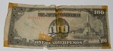 """1942 WORLD WAR II """"THE JAPANESE GOVERNMENT 100 PESOS""""  (PHILIPPINES OCCUPATION)"""