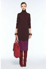 DVF DIANE VON FURSTENBERG Wool Soyala Bis Turtleneck Sweater Dress Burgundy XS