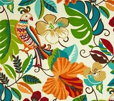 Outdoor/ Indoor ~ Upholstery ~ Birds ~ Tropica Floral~Orange~Fabric~  per 1 yard