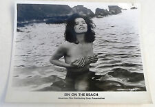 Vintage 1960's SIN ON THE BEACH cult nudie nude movie press photo MONIQUE JUST