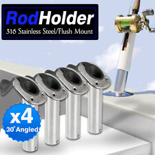 4x 316 MARINE GRADE STAINLESS STEEL 30 DEGREE BOAT FISHING ROD HOLDERS HOLDER