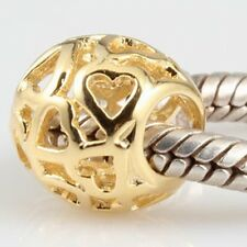 GOLD OVER 925 STERLING SILVER OPEN WORK HEART CHARM BEAD EUROPEAN BRACELET S2285
