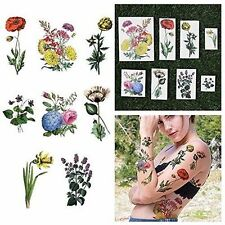 FLOWERS ROSES LAVENDERS NATURE COLORFUL TEMPORARY TATTOOS ART FAKE (SET OF 12)