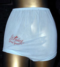 "Vintage 1950s Baby Blue ""Friday"" Band Leg Nylon Panties Sz S"