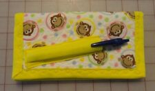 QUILTED CHECKBOOK WALLET with pen & cc holder - Monkey Faces