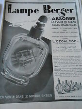 PUBLICITE 1929 Lampe Berger Absorbe L'Ozoalcoll