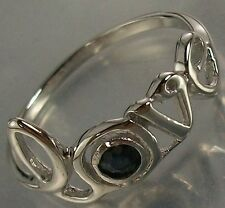 925 Sterling Silver genuine Sapphire written Love Ring US 7 1/4 AU O, 1.4mm Band