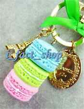 1X Attractive Macaron Cake Keyring Mini Eiffel Tower Keychain Key Chain Keyfob U