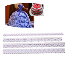 4PCS New Straight Frill Cutter Cake Decoration Tools Lace Flower shaped Pressing