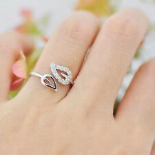 Women Hollow Leaf Leaves Crystal Rhinestone Silver Plated Adjustable Open Ring