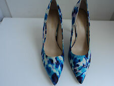 New Nine West Flax Womens Size 6 B,M Blue Multi-Colored Fabric Pumps Heels Shoes