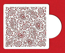 Paisley Henna Patterns Cake Top Cupcake Stencil Flexible Cookie Stencil