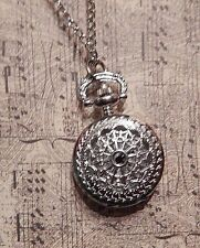 SILVER POCKET WATCH NECKLACE spiderweb ornate chain steampunk Victorian goth G3