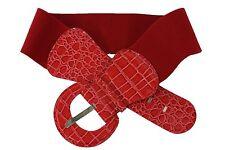 Women Dark Red Faux Leather Wide Fashion Belt Round Buckle Hip Waist Fits S M