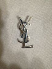 YSL Yves Saint Laurent Pin Brooch Silver Tone 2.5 inches Large CYBER MONDAY