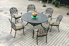 7 Piece Patio Dining Set Outdoor Cast aluminum Furniture Elisabeth Garden Bronze