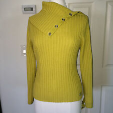 EUC Adolfo Dominguez mustard yellow ribbed wool open collar sweater turtleneck M