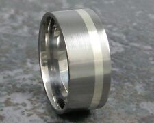 10mm Titanium & Silver  Ring Wedding Band Custom Made to ANY Sizing 3-22