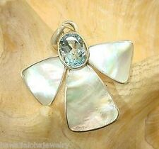 Marta Howell Sterling Silver White Lip Mother of Pearl Angel Blue Topaz Pendant
