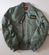 AVIREX USA SAGE MILITARY GREEN NYLON FLIGHT BOMBER JACKET STYLE M 1945-87 SZ L
