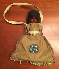 Antique Childs Purse Articulated Doll in Genuine Fringed Leather , Beaded Dress