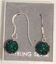 PAIR 925 STERLING SILVER SHAMBALLA CRYSTAL DISCO BALL DROP DANGLE EARRINGS + BOX