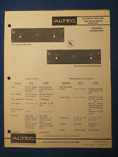 ALTEC 1597A 1598A SPEAKER PANEL OPERATING MANUAL & SCHEMATIC FACTORY ORIGINAL