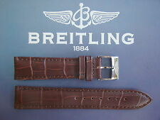 QUALITY 24MM BROWN CROCO PRINT WATCH BAND WATCHBAND BRACELET STRAP FIT BREITLING