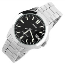 Casio MTP-1215A-1A2 Men's Analog Black Watch Silver Steel Band New with Date