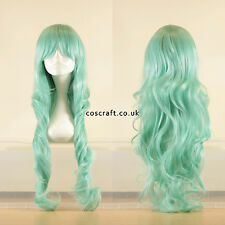 80cm long wavy curly cosplay wig in pale light teal, UK seller, Jeri style