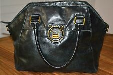 ELLIOTT LUCCA Black Genuine Leather Handbag DISTRESSED Satchel Tote Purse Bag