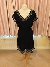 Atmosphere Black Gold V Neck Dress 14 Over Bikini? Holiday New Tags