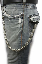 Men Silver Metal Wallet Chains Links KeyChain Jeans Biker Big Skulls Skeletons