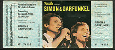 Simon and Garfunkel 1983 Unused Concert Ticket Basel Swiss The Sound of Silence