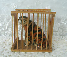Tiger Vintage Collectible Bone China Figurine with Bamboo Cage Made in Taiwan