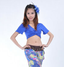 Belly Dance 3 Way to Wear Cotton Blouse Top Bra Blue