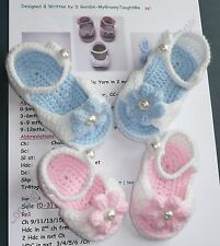 *Crochet PATTERN*Baby Peep Toe Sandal/Shoes-inc.Flowers/Bows-4 sizes-0 to 12mths