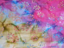 """BATIK one-of-a-kind abstract florals 100% cotton quilting fabric 3 yds x 44"""" w"""