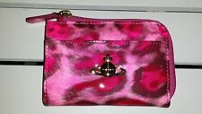 NIB VIVIENNE WESTWOOD HOT PINK LEOPARD ANIMALIER SMALL ZIP PATENT LEATHER WALLET