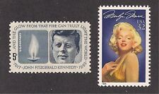 JOHN F KENNEDY & MARILYN MONROE - 2 U.S. POSTAGE STAMPS - MINT CONDITION
