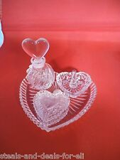 NEW CRYSTAL 6 PC VANITY SET RING HOLDER HEART - PERFUME BOTTLE - TRAY - TRINKET